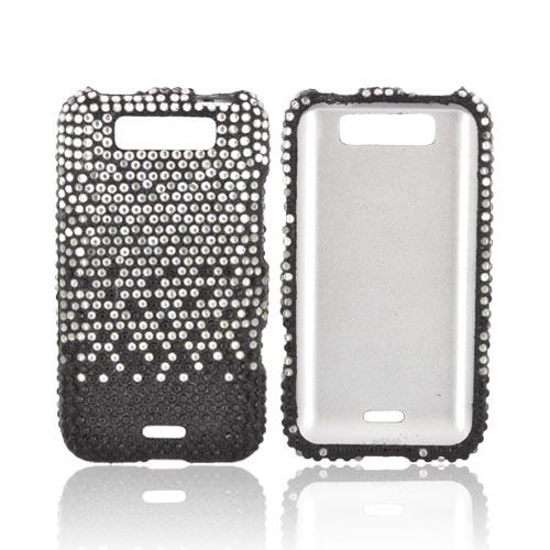 LG Viper LTE 4G/ LG Connect 4G Bling Hard Case - Silver Waterfall on Black Gems