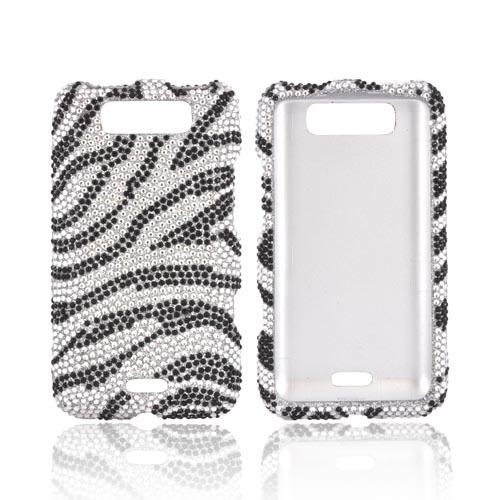 LG Viper 4G LTE/ LG Connect 4G Bling Hard Case - Silver/ Black Zebra