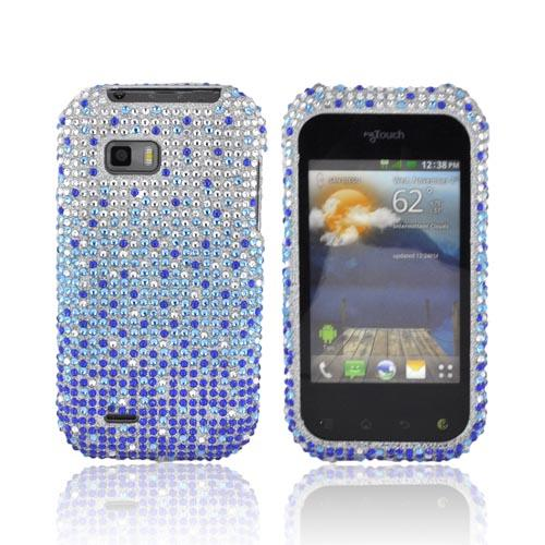T-Mobile MyTouch Q Bling Hard Case - Turquoise/ Blue Waterfall on Silver Gems