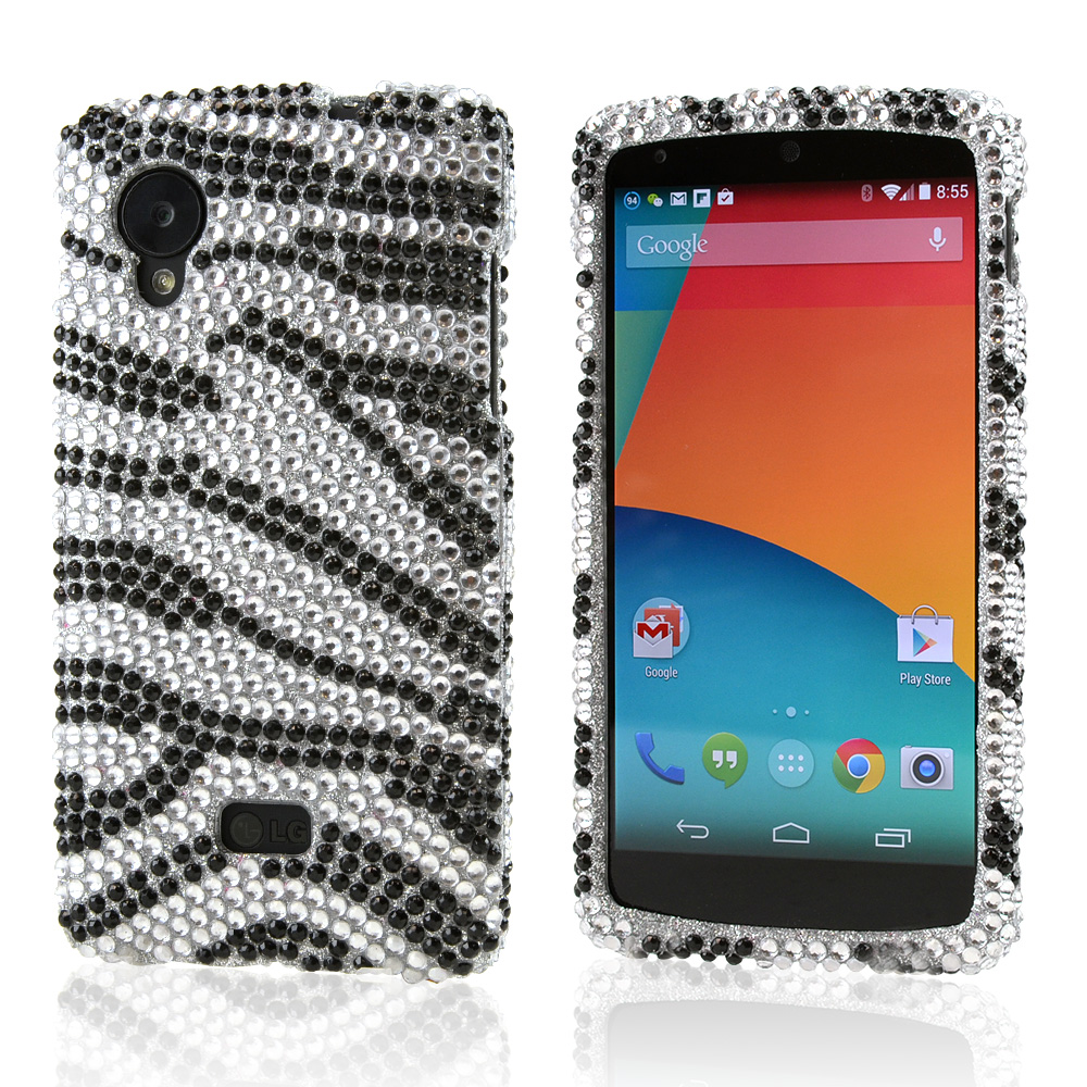 Black Zebra on Silver Bling Hard Case for LG Google Nexus 5