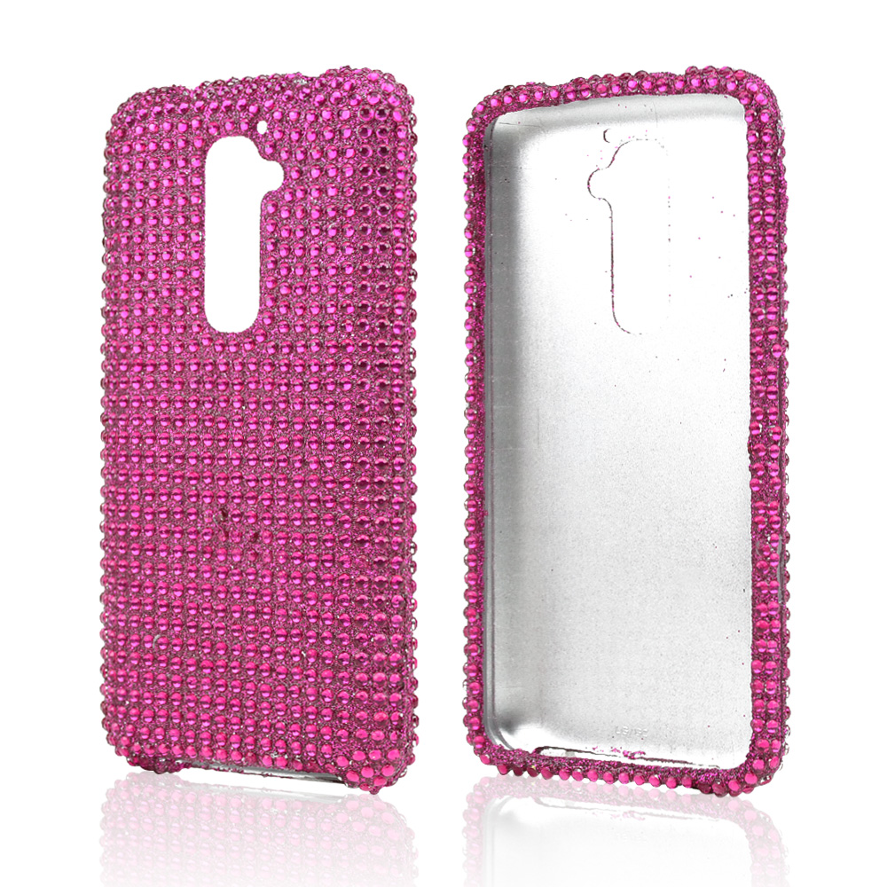 Hot Pink Gems Bling Hard Case for LG G2 (AT&T, T-Mobile, & Sprint)