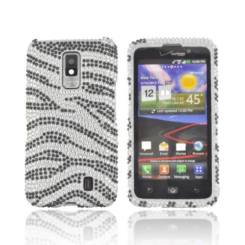 LG Spectrum Bling Hard Case w/ Crowbar - Black on Silver Gems