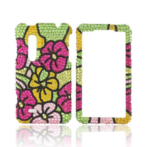 LG Thrill 4G Bling Hard Case - Green/ Hot Pink/ Yellow Hawaiian Flowers