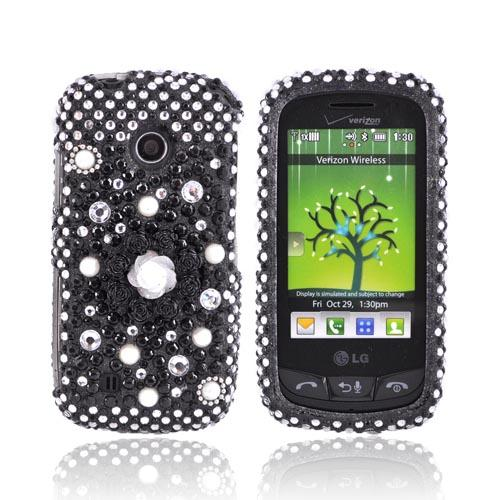 LG Cosmos Touch VN270 Bling Hard Case - Black Flower