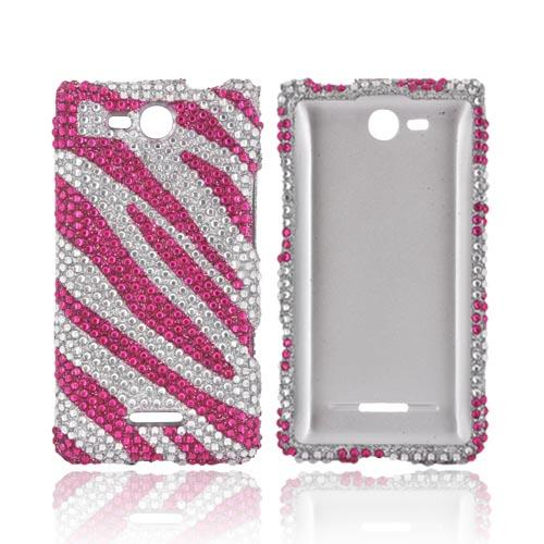 LG Lucid 4G Bling Hard Case - Hot Pink/ Silver Zebra