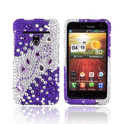 LG Revolution, LG Esteem Bling Hard Case - Purple/ Silver Hearts & Gems