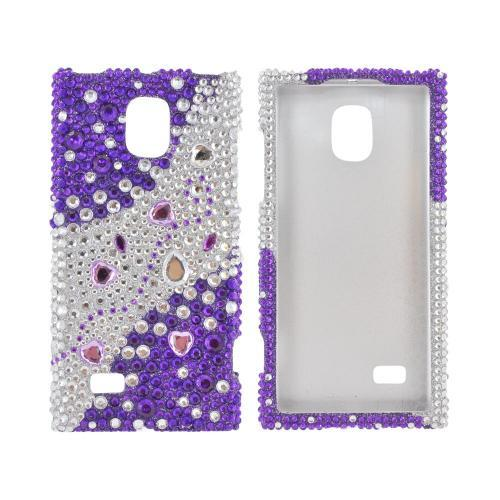 LG Optimus VS930 (Optimus LTE II) Bling Hard Case - Purple Hearts on Purple/ Silver Gems