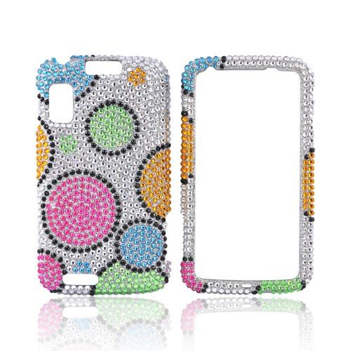 Motorola Atrix 4G Bling Hard Case - Rainbow Circles on Silver