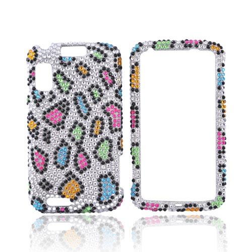 Motorola Atrix 4G Bling Hard Case - Rainbow Leopard on Silver