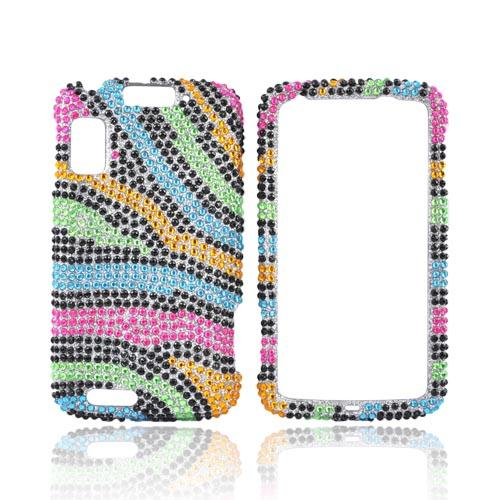 Motorola Atrix 4G Bling Hard Case - Rainbow Zebra on Silver