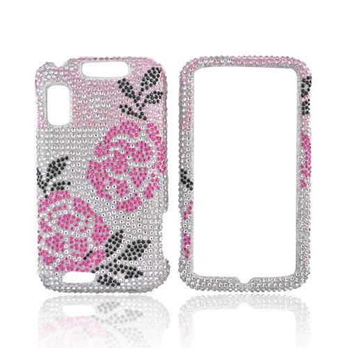 Motorola Atrix 4G Bling Hard Case - Pink Winter Rose on Silver