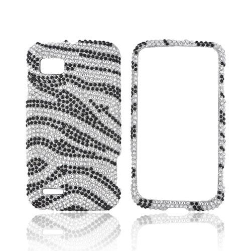 Motorola Atrix 2 Bling Hard Case - Black Zebra on Silver Gems