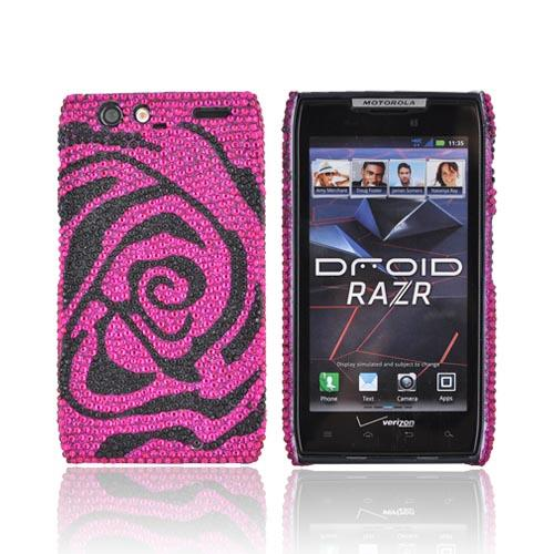 Motorola Droid RAZR Bling Hard Case - Hot Pink/ Black Rose Gems