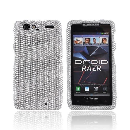 Motorola Droid RAZR Bling Hard Case - Silver Gems