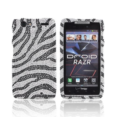 Motorola Droid RAZR Bling Hard Case - Black Zebra on Silver Gems