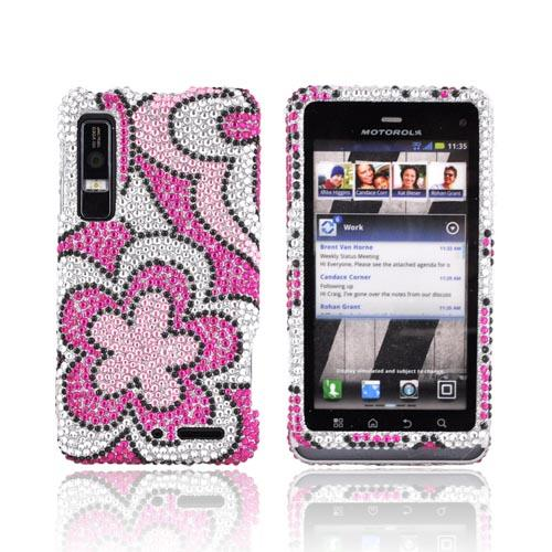 Motorola Droid 3 Bling Hard Case - Pink/ Hot Pink Flowers on Silver Gems