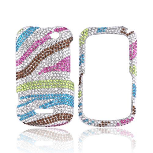 Motorola Clutch+ i475 Bling Hard Case - Rainbow Zebra on Silver Gems