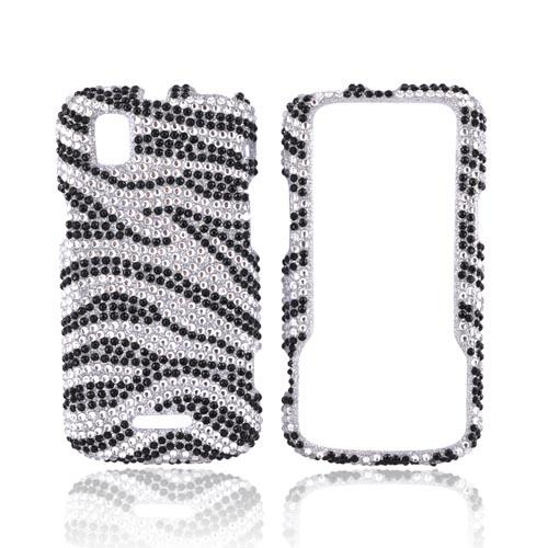 Motorola XPRT MB612 Bling Hard Case w/ Crowbar - Black Zebra on Silver Gems
