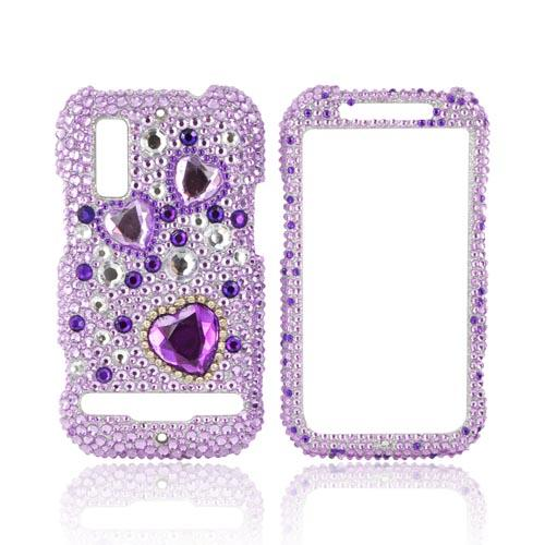 Motorola Photon 4G Bling Hard Case - Purple Hearts on Light Purple/ Silver Gems