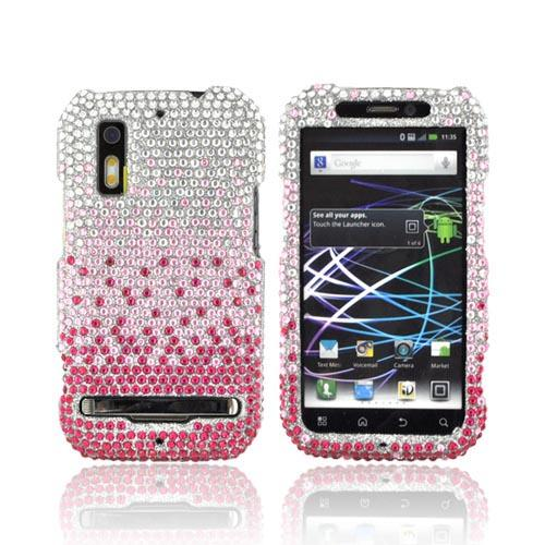 Motorola Photon 4G Bling Hard Case - Magenta/ Baby Pink Waterfall on Silver Gems