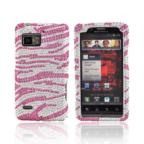 Motorola Droid Bionic XT875 Bling Hard Case - Pink Zebra on Silver Gems