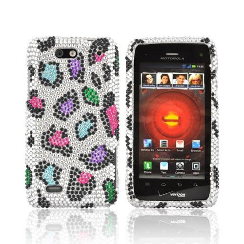 Motorola Droid 4 Bling Hard Case - Rainbow Leopard on Silver Gems