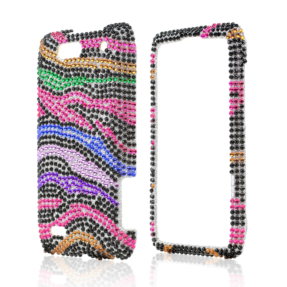 Motorola Droid 4 Bling Hard Case - Rainbow Zebra on Silver