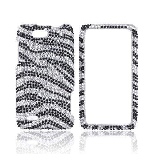 Motorola Droid 4 Bling Hard Case - Black Zebra on Silver Gems