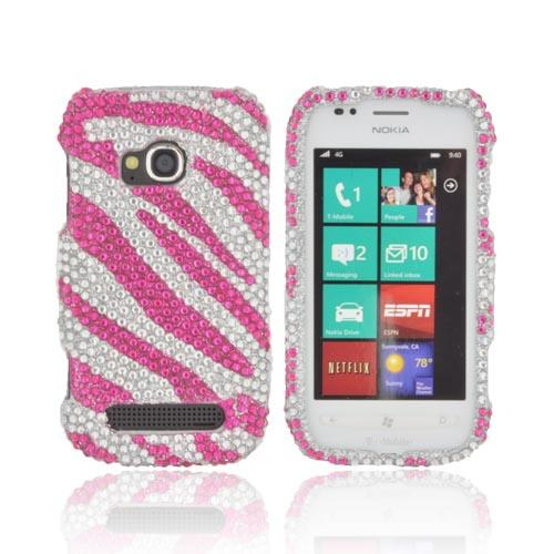 Nokia Lumia 710 Bling Hard Case - Hot Pink Zebra on Silver Gems