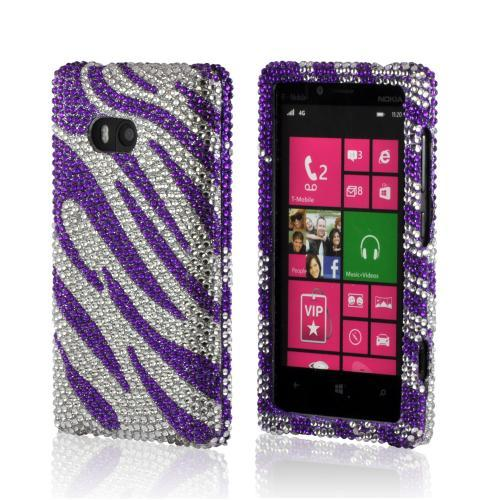 Purple/ Silver Zebra Bling Hard Case for Nokia Lumia 810