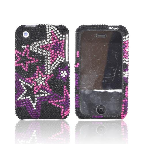 Apple iPhone 3GS 3G Bling Hard Case - Hot Pink Stars on Black