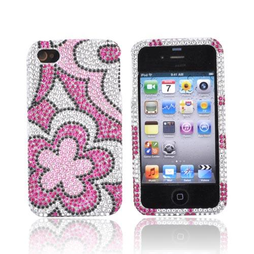 Luxmo Apple Verizon/ AT&T iPhone 4, iPhone 4S Bling Hard Case - Hot Pink Flowers on Silver