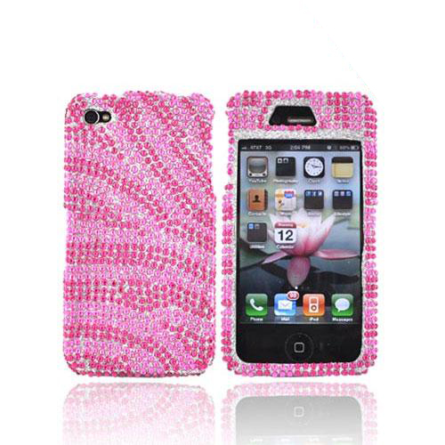 Apple Verizon/ AT&T iPhone 4, iPhone 4S Bling Hard Case - Zebra Design of Pink/Hot Pink