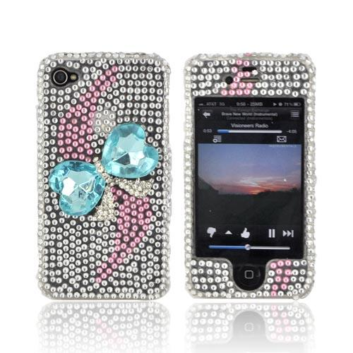 AT&T/ Verizon Apple iPhone 4, iPhone 4S Bling Hard Case - Turquoise Heart Bow Bling on Silver Gems