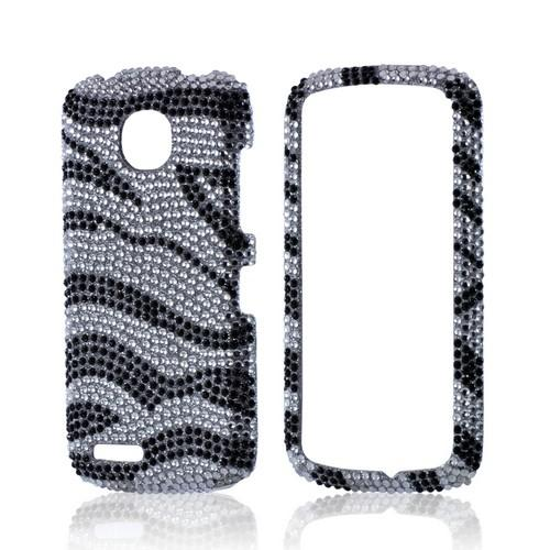 Black/ Silver Zebra Bling Hard Case for Pantech Marauder