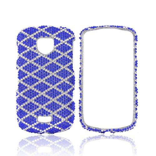 Samsung Droid Charge Bling Hard Case - Blue/ White Diamond Pattern