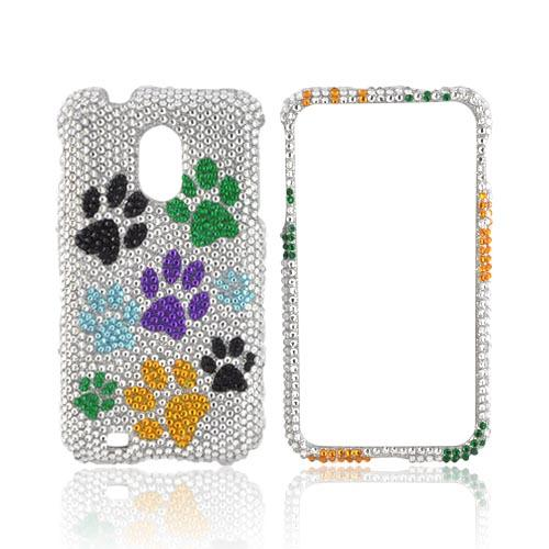 Samsung Epic 4G Touch Bling Hard Case - Multi-Color Paw Prints on Silver Gems