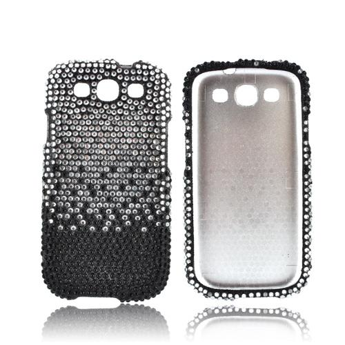 Samsung Galaxy S3 Bling Hard Case - Silver Waterfall on Black Gems