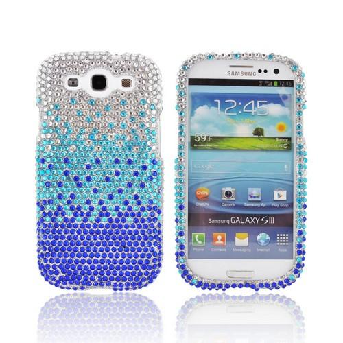 Samsung Galaxy S3 Bling Hard Case - Blue/ Turquoise Waterfall on Silver Gems