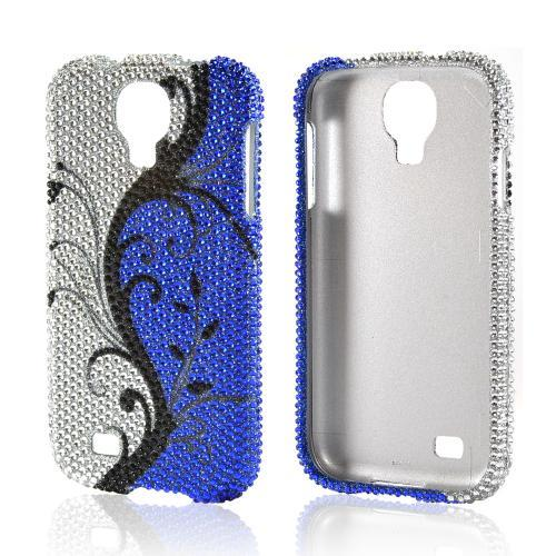 Black Vines on Silver/ Blue Bling Hard Case for Samsung Galaxy S4