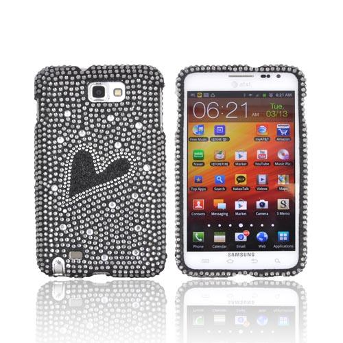 Samsung Galaxy Note Bling Hard Case - Silver/ Black Heart on Black Gems