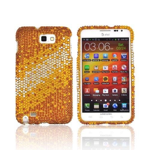 Samsung Galaxy Note Bling Hard Case - White/ Yellow Splash on Gold Gems