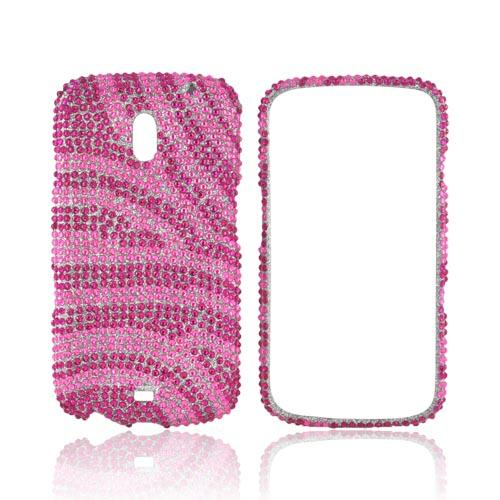 Samsung Galaxy Nexus Bling Hard Case - Hot Pink Zebra on Pink Gems