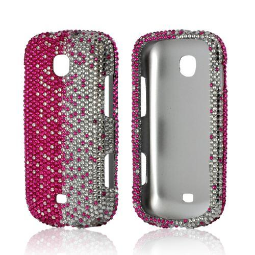 Hot Pink/ Silver Gems Bling Hard Case for Samsung Galaxy Stellar
