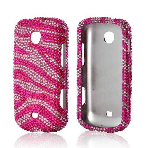 Hot Pink/ Baby Pink Zebra Bling Hard Case for Samsung Galaxy Stellar