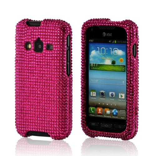 Hot Pink Gems Bling Hard Case for Samsung Galaxy Rugby Pro