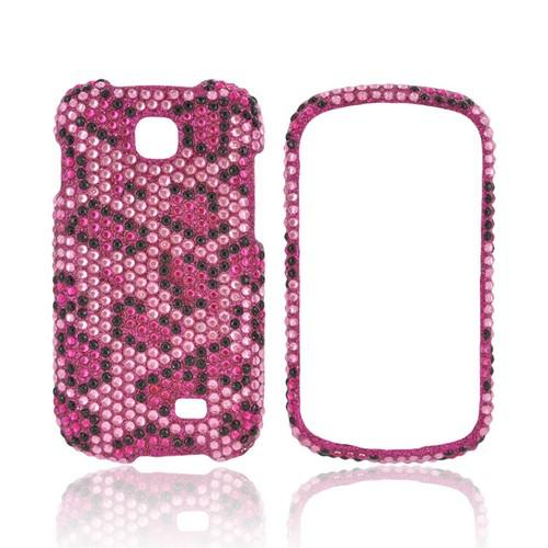 Samsung Galaxy Appeal Bling Hard Case - Hot Pink/ Black Leopard