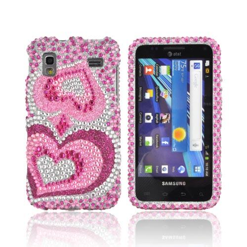 Samsung Captivate Glide i927 Bling Hard Case - Triple Pink Hearts on Silver Gems