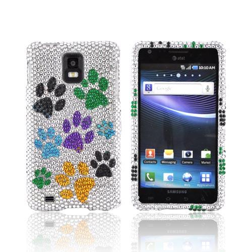 Samsung Infuse i997 Bling Hard Case - Multi Color Paw Prints on Silver Gems