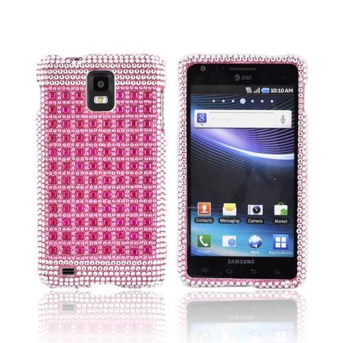 Samsung Infuse i997 Bling Hard Case - Pink/ Silver on Pink Gems